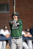 Eastern Michigan Eagles outfielder Shane Easter (1) at the plate during the NCAA baseball game against the Michigan Wolverines on May 8, 2019 at Ray Fisher Stadium in Ann Arbor, Michigan. Michigan defeated Eastern Michigan 10-1. (Andrew Woolley/Four Seam Images)