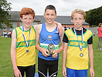 Ruarcan O'Gibne Boyne AC 2nd, Conor McMahon Ardee AC 1st and Lorcan Hughes Boyne AC 2nd in the boys under 14 at Ardee sports day. Photo:Colin Bell/pressphotos.ie