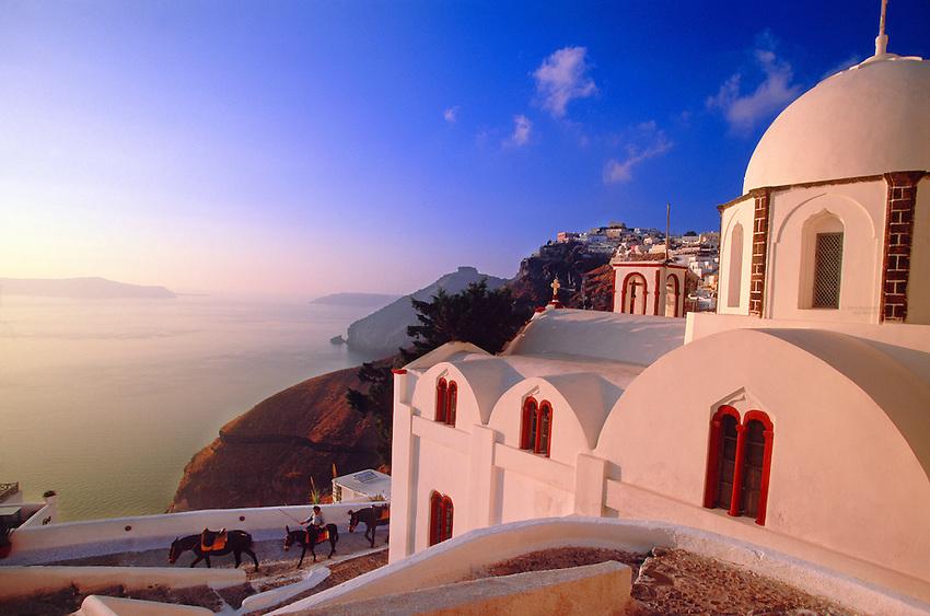 Fira, Island of Santorini, The Cyclades, Greece.