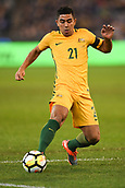 June 13th 2017, Melbourne Cricket Ground, Melbourne, Australia; International Football Friendly; Brazil versus Australia; Massimo Luongo of Australia plays the ball forward
