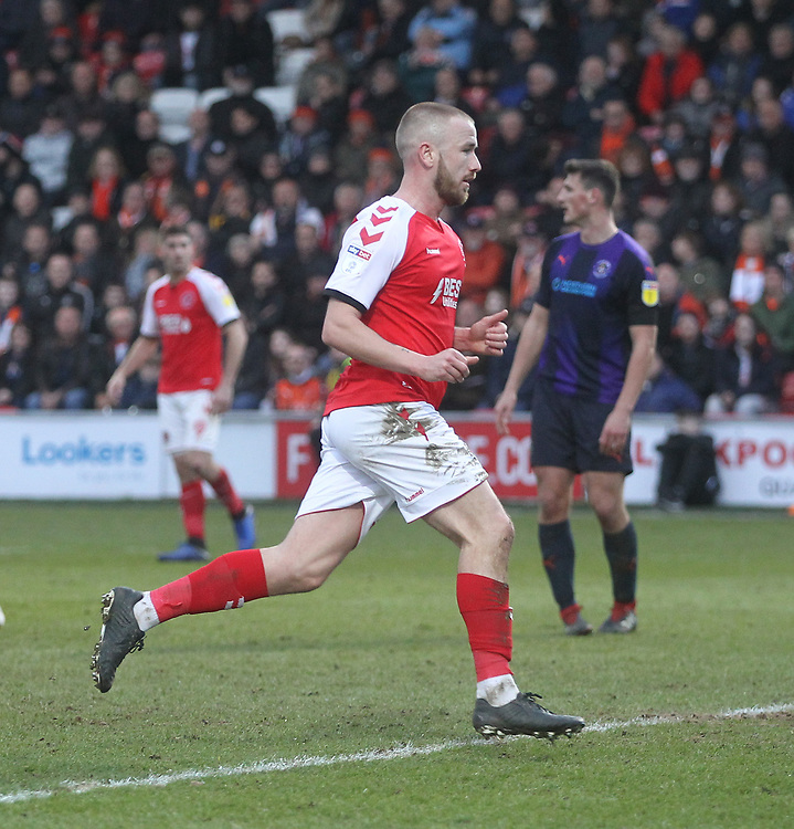 Fleetwood Town's Paddy Madden  celebrates scoring his sides first goal <br /> <br /> Photographer Mick Walker/CameraSport<br /> <br /> The EFL Sky Bet League One - Fleetwood Town v Luton Town - Saturday 16th February 2019 - Highbury Stadium - Fleetwood<br /> <br /> World Copyright © 2019 CameraSport. All rights reserved. 43 Linden Ave. Countesthorpe. Leicester. England. LE8 5PG - Tel: +44 (0) 116 277 4147 - admin@camerasport.com - www.camerasport.com