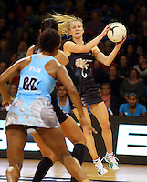 16.07.2015 Silver Ferns Shannon Francois in action during the Silver Fern v Fiji netball test match played at Te Rauparaha Arena in Porirua. Mandatory Photo Credit ©Michael Bradley.