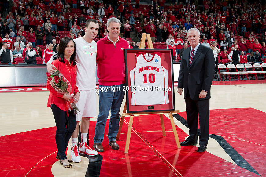 Wisconsin Badgers senior Dan Fahey (10) with his parents and Head Coach Bo Ryan prior to a Big Ten Conference NCAA college basketball game against the Purdue Boilermakers Sunday, March 3, 2013, in Madison, Wis. Purdue won 69-56. (Photo by David Stluka)