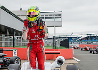 Mick Schumacher (CHE) of Prema Theodore Racing celebrates his win during the F3 European race during the 2018 Silverstone - FIA World Endurance Championship at Silverstone Circuit, Towcester, England on 18 August 2018. Photo by Vince  Mignott.