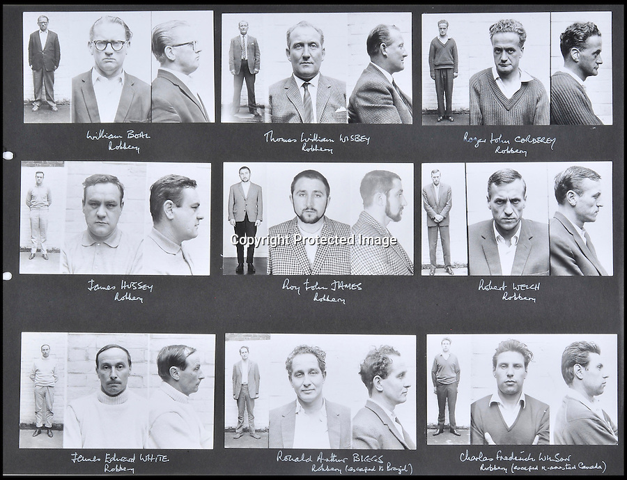BNPS.co.uk (01202 558833)<br /> Pic: Ben Cavanna/DWA/BNPS<br /> <br /> Mugshots of the nine robbers.<br /> <br /> A unique step by step record of the Great Train Robbery compiled by the first detective on the scene has come to light, 50 years after the 'Crime of the century'.<br /> <br /> DC John Bailey's meticulous scrapbook's give a fascinating blow by blow picture account of the notorious heist from the scene to the capture and trial of the nine robbers.<br /> <br /> Dominic Winter auctions in Cirencester are selling the historic books with a &pound;3000 estimate.