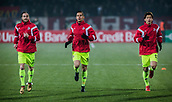 7th December 2017, Rajko Mitic Stadium, Belgrade, Serbia, UEFA Europa League football, Red Star Belgrade versus FC Cologne; Midfielder Matthias Lehmann, Defender Pawel Olkowski and Forward Yuya Osako of FC Koeln warm up before the match