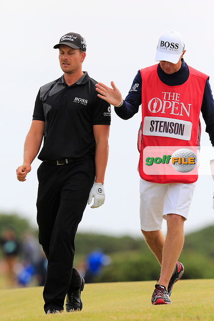 Henrik STENSON (SWE) and caddy Gareth Lord on the 14th hole during Monday's Final Round of the 144th Open Championship, St Andrews Old Course, St Andrews, Fife, Scotland. 20/07/2015.<br /> Picture Eoin Clarke, www.golffile.ie