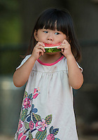 NWA Democrat-Gazette/ANTHONY REYES &bull; @NWATONYR<br /> Ella Li, 2, a student at Walnut Farm Montessori School eats watermelon Thursday, Aug. 19, 2015 at the school in Bentonville. The school had a open house and watermelon social to prepare for the upcoming school year which begin Monday. Students met their teachers, toured the school and grounds and ate ice cream and watermelon.