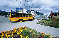 Skagway Alaska street car tour in historic gold rush town of Skagway, Alaska, end of Alaska's inside passage Lynn Canal.