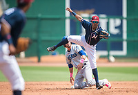 NWA Democrat-Gazette/CHARLIE KAIJO Northwest Arkansas Naturals second baseman Erick Mejia (9) tags out Tulsa Drillers second baseman Drew Jackson (15) during a baseball game, Sunday, May 13, 2018 at Arvest Ballpark in Springdale.