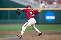 Florida State Seminoles pitcher Connor Grady (31) delivers a pitch to the plate during Game 9 of the NCAA College World Series against the Texas Tech Red Raiders on June 19, 2019 at TD Ameritrade Park in Omaha, Nebraska. Texas Tech defeated Florida State State 4-1. (Andrew Woolley/Four Seam Images)