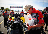 Mar. 30, 2012; Las Vegas, NV, USA: NHRA crew chief Richard Hogan for top fuel dragster driver Steve Torrence during qualifying for the Summitracing.com Nationals at The Strip in Las Vegas. Mandatory Credit: Mark J. Rebilas-