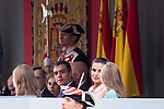President of Spanish Government Pedro Sanchez, Queen Letizia of Spain and Infanta Sofia during the Military parade because of the Spanish National Holiday. October 12, 2019.. (ALTERPHOTOS/ Francis Gonzalez)