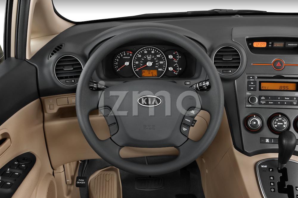 Steering wheel view of a 2008 Kia Rondo EX V6