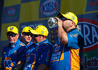 Apr 23, 2017; Baytown, TX, USA; Crew members for NHRA funny car driver Ron Capps celebrate after winning the Springnationals at Royal Purple Raceway. Mandatory Credit: Mark J. Rebilas-USA TODAY Sports