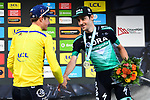 Race leader Yellow Jersey Jakob Fuglsang (DEN) Astana Pro Team wins the overall general classification with Emanuel Buchmann (GER) Bora-Hansgrohe in 3rd at the end of  Stage 8 of the Criterium du Dauphine 2019, running 113.5km from Cluses to Champery, Switzerland. 16th June 2019.<br /> Picture: ASO/Alex Broadway | Cyclefile<br /> All photos usage must carry mandatory copyright credit (© Cyclefile | ASO/Alex Broadway)