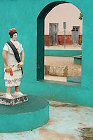Humorous Mayan dancer statue in Santa Elena, Yucatan, Mexico.