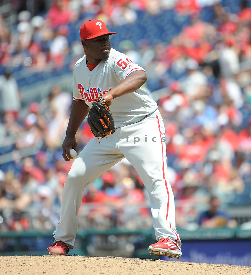 Philadelphia Phillies Hector Neris (50) during a game against the Washington Nationals on June 11, 2016 at Nationals Park in Washington, DC. The Nationals beat the Phillies 8-0.