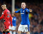 Wayne Rooney of Everton organises the team during the premier league match at the Goodison Park Stadium, Liverpool. Picture date 2nd December 2017. Picture credit should read: Simon Bellis/Sportimage