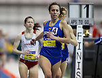 BROOKINGS, SD - FEBRUARY 24:  Rachael King from South Dakota State University leads with one lap to go en route to winning the women's 3,000 meter run Friday afternoon at the Summit League Indoor Championships in Brookings, SD. (Photo by Dave Eggen/Inertia)