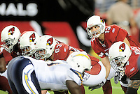 Aug. 22, 2009; Glendale, AZ, USA; Arizona Cardinals quarterback (13) Kurt Warner against the San Diego Chargers during a preseason game at University of Phoenix Stadium. Mandatory Credit: Mark J. Rebilas-