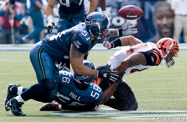Seattle Seahawks linebacker Lofa Tatupu, (L) goes after Cincinnati Bengals wide receiver T.J. Houshmanzadeh's  (R) fumble after he got hit by Seattle Seahawks linebacker Leroy Hill (51) in the second quarter at Qwest Field in Seattle on September 23, 2007. The fumble was recovered by Seahawks cornerback Kelly Jennings.  (UPI Photo/Jim Bryant)
