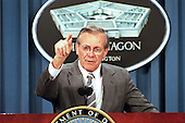 United States Secretary of Defense Donald H. Rumsfeld announces major changes to national security space activities at a Pentagon news briefing on May 8, 2001.  The changes are to improve the leadership, management and organization of the nation's defense and intelligence space program. <br /> Mandatory Credit: Helene C. Stikkel / DoD photo via CNP