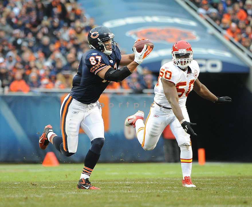 KELLEN DAVIS, of the Chicago Bears, in action during the Bears game against the Kansas City Chiefs, on December 4, 2011, at Soldier Field in Chicago, IL. Kansas City beat Chicago 10-3.