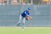Team Italy outfielder Giovanni Garbella (27) warms up before an exhibition game against the Oakland Athletics at Lew Wolff Training Complex on October 3, 2018 in Mesa, Arizona. (Zachary Lucy/Four Seam Images)