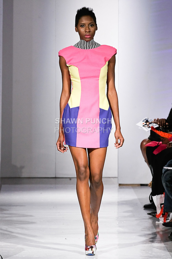 Model walks the runway in an outfit by Candice A. Williams from the Abeyo & Marqz Boutique Spring Summer 2012 collection, during BK Fashion Weekend Spring Summer 2012.