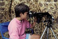 HU14-038x  Ruby-throated Hummingbird - boy inside blind photographing birds at nest -  Archilochus colubris