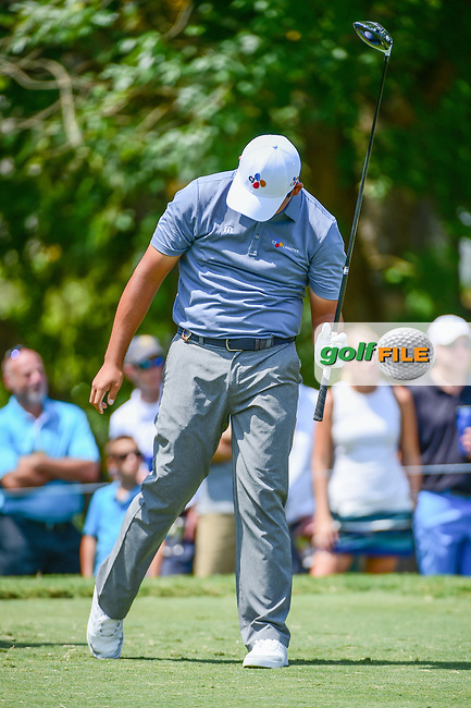 Si Woo Kim (KOR) reacts to his tee shot on 5 during Thursday's round 1 of the PGA Championship at the Quail Hollow Club in Charlotte, North Carolina. 8/10/2017.<br /> Picture: Golffile | Ken Murray<br /> <br /> <br /> All photo usage must carry mandatory copyright credit (&copy; Golffile | Ken Murray)
