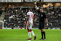 Milton Keynes Dons' Ethan Ebanks-Landell receives a yellow card from referee Brett Huxtable<br /> <br /> Photographer Andrew Kearns/CameraSport<br /> <br /> The EFL Sky Bet League One - Milton Keynes Dons v Fleetwood Town - Saturday 11th November 2017 - Stadium MK - Milton Keynes<br /> <br /> World Copyright &copy; 2017 CameraSport. All rights reserved. 43 Linden Ave. Countesthorpe. Leicester. England. LE8 5PG - Tel: +44 (0) 116 277 4147 - admin@camerasport.com - www.camerasport.com