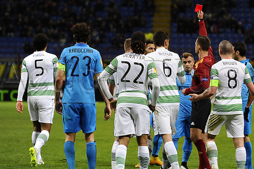 26.02.2015. Milan, Italy. Europa League football. Inter Milan versus Celtic.  Red card shown to Virgil Van Dijik Celtic