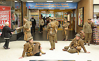 Men in World War I gear in The Quadrant, Swansea, south Wales UK. Friday 01 July 2016