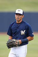 Joantgel Segovia (6) of the AZL Brewers before a game against the AZL Athletics at Maryvale Baseball Park on June 30, 2015 in Phoenix, Arizona. Brewers defeated Athletics, 4-2. (Larry Goren/Four Seam Images)