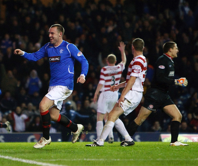 Kris Boyd scores his third goal, Rangers fourth, and laughs as Tomas Cerny and Hamilton are dumbfounded