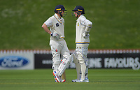 Otago's Mitch Renwick (left) and Nathan Smith on day one of the Plunket Shield cricket match between the Wellington Firebirds and Otago Volts at Basin Reserve in Wellington, New Zealand on Monday, 21 October 2019. Photo: Dave Lintott / lintottphoto.co.nz