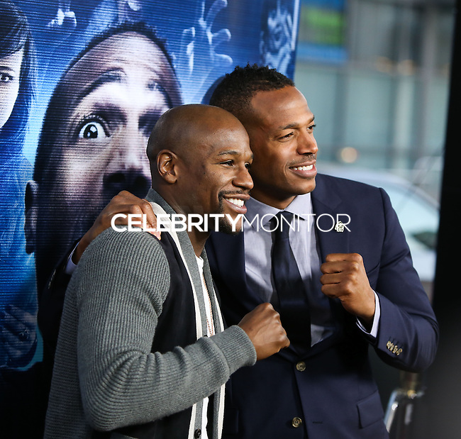 """LOS ANGELES, CA, USA - APRIL 16: Marlon Wayans, Floyd Mayweather Jr. at the Los Angeles Premiere Of Open Road Films' """"A Haunted House 2"""" held at Regal Cinemas L.A. Live on April 16, 2014 in Los Angeles, California, United States. (Photo by Xavier Collin/Celebrity Monitor)"""