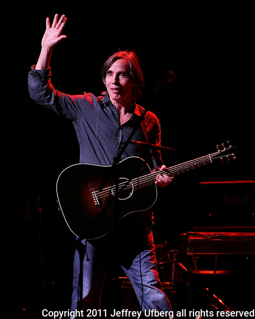 """May 27, 2011 New York: Singer / Musician Jackson Browne performs at """"Wavy Gravy's 75th Birthday"""" at the Beacon Theatre on May 27, 2011 in New York."""