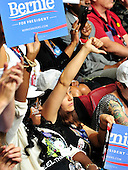 Unidentified Bernie Sanders supporter expresses her displeasure at the mention of Hillary Clinton's name at the 2016 Democratic National Convention held at the Wells Fargo Center in Philadelphia, Pennsylvania on Saturday, July 23, 2016.<br /> Credit: Ron Sachs / CNP<br /> (RESTRICTION: NO New York or New Jersey Newspapers or newspapers within a 75 mile radius of New York City)