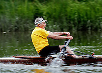 87-year-old Stephen Richardson rowing on the Squamscott River, Exeter, NH