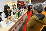 Exhibitors show their products at the 42nd International Food and Beverage Exhibition (FOODEX JAPAN 2017) in Makuhari Messe International Convention Complex on March 8, 2017, Chiba, Japan. About 3,282 companies from 77 nations are participating in the Asia's largest food and beverage trade show. This year organizers expect 77,000 visitors for the four-day event, which runs until March 10. (Photo by Rodrigo Reyes Marin/AFLO)
