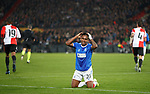 28.11.2019: Feyenoord v Rangers: Alfredo Morelos amazed that no penalty given as Leroy Fer flattens him in the box