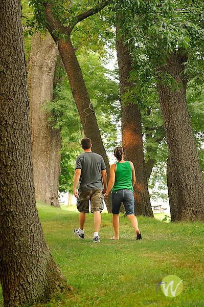 Susquehanna River Park. Couple walking. Williamsport, PA.