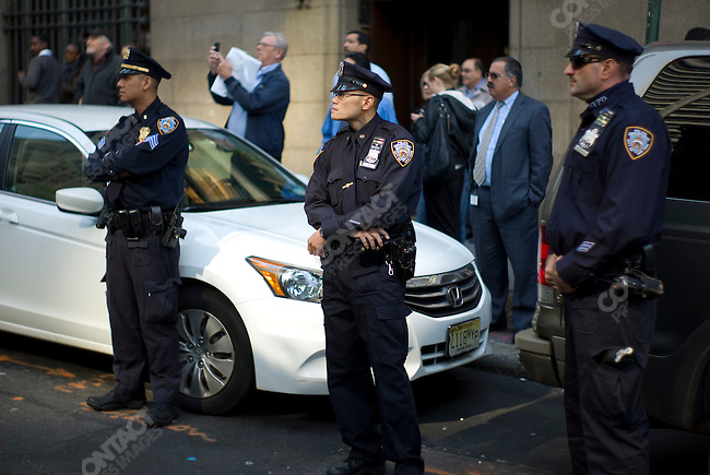 "Police watch the ""Occupy Wall Street"" protest, Zuccotti Park near Liberty Street & Broadway in the financial district, New York City, New York, USA, October 18, 2011"