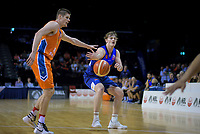 Finn Delaney in action during the national basketball league semifinal match between Nelson Giants and Southland Sharks at TSB Bank Arena in Wellington, New Zealand on Saturday, 4 August 2018. Photo: Dave Lintott / lintottphoto.co.nz