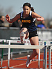 Natalie Adam, a Jericho freshman, clears an obstacle during the girls 100 meter high hurdles event in the Cougar Invitational held at Bellmore JFK High School on Saturday, Apr. 16, 2016. She finished second out of 27 competitors with a time of 17.0.
