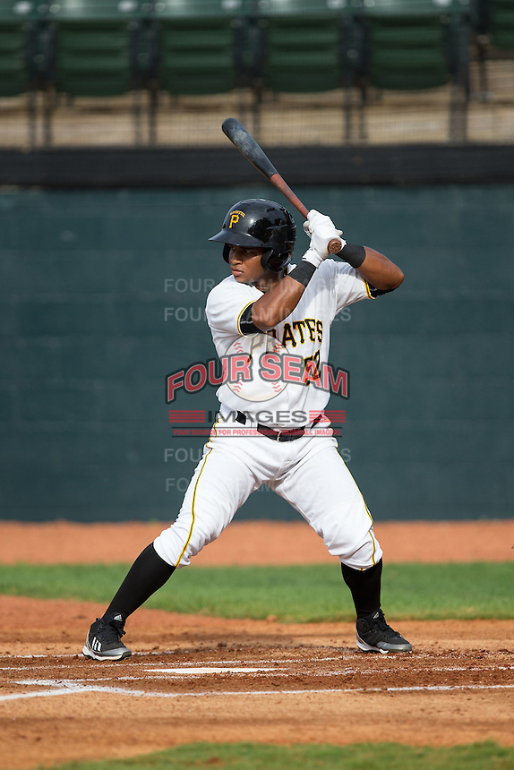 Henrry Rosario (52) of the Bristol Pirates at bat against the Johnson City Cardinals at Boyce Cox Field on July 7, 2015 in Bristol, Virginia.  The Cardinals defeated the Pirates 4-1 in game one of a double-header. (Brian Westerholt/Four Seam Images)