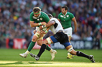 Jamie Heaslip of Ireland takes on the Romania defence. Rugby World Cup Pool D match between Ireland and Romania on September 27, 2015 at Wembley Stadium in London, England. Photo by: Patrick Khachfe / Onside Images
